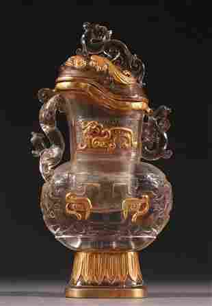 GLASS WITH GOLD DRAGON PATTERN VASE