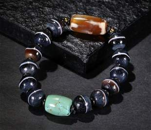 AGATE STRING BRACELET WITH 14 BEADS