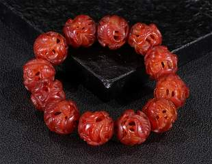AGATE STRING BRACELET WITH 12 BEADS