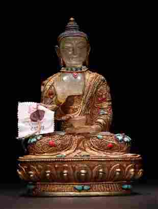 CRYSTAL PHARMACIST BUDDHA WRAPPED WITH GILT SILVER