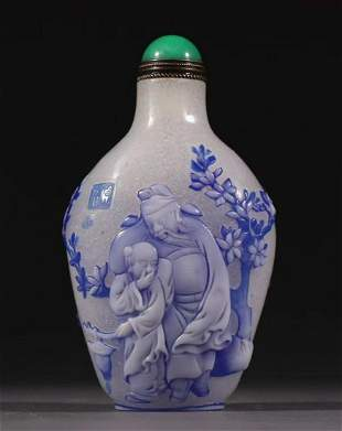 GLASS SNUFF BOTTLE CARVED WITH STORY