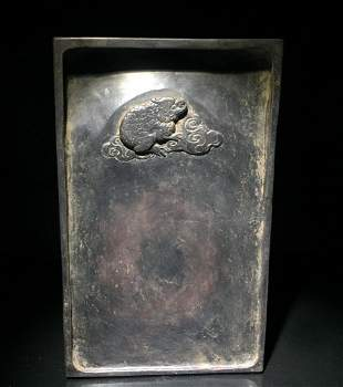 INK SLAB CARVED WITH TOAD