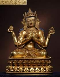 DAMINGYONGLENIANSHI MARK GILT BRONZE GUANYIN BUDDHA