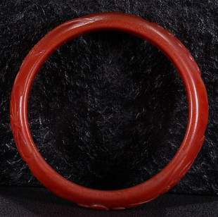 RED AGATE CARVED BANGLE