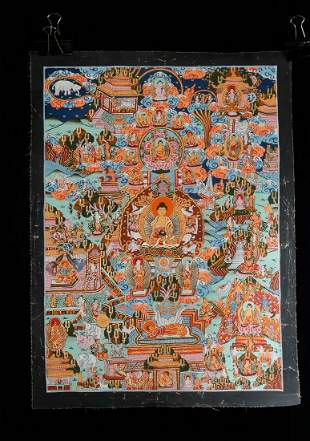 TIBETAN MINERAL PAINTED THANGKA