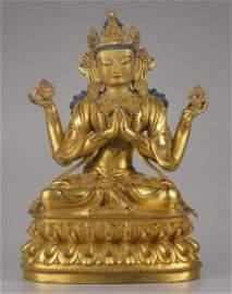 GILT BRONZE CASTED BUDDHA STATUE