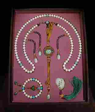 PEARL STRING COURT NECKLACE WITH 108 BEADS