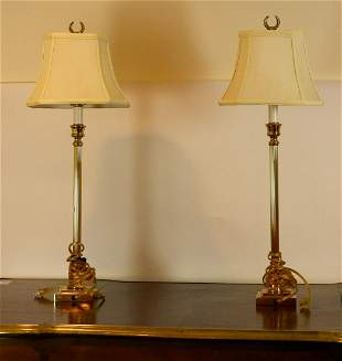 A PAIR OF BRASS LAMP