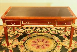EMPIRE TABLE DESK WITH TOOLED LEATHER TOP