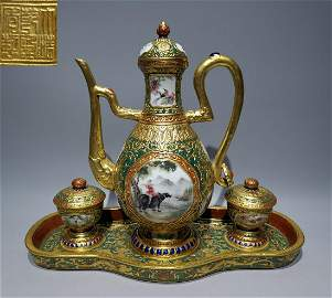 SET OF QIANLONG MARK GOLD ENAMELED GLAZE POT&CUPS