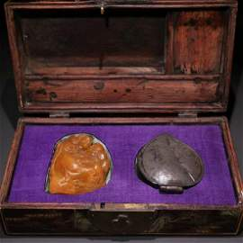 TIANHUANG STONE ARHAT SEAL WITH INK BOX