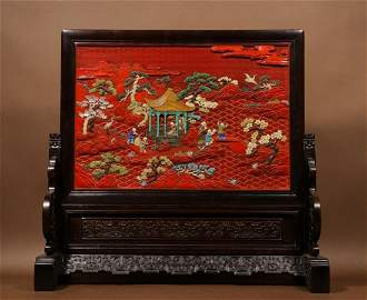 ZITAN WITH RED LACQUER CARVED FIGURE STORY SCREEN