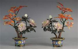 PAIR OF CLOISONNE WITH AGATE&JADE&CRYSTAL BONSAI
