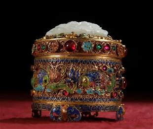 GILT SILVER WITH GEMSTONE&HETIAN JADE BOX WITH COVER