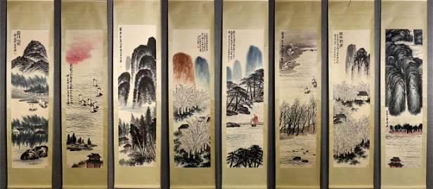 SET OF QI BAISHI LANDSCAPE PATTERN PAINTINGS