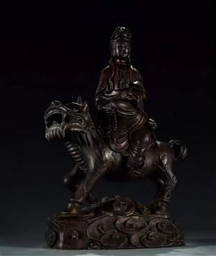 ZITAN WOOD CARVED GUANYIN BUDDHA STATUE
