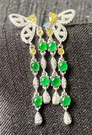 18K GOLD WITH SOUTH AFRICA DIAMOND JADEITE EARRINGS