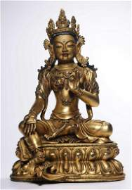 GILT BRONZE CAST GUANYIN BUDDHA STATUE
