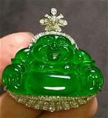 ICY GREEN JADEITE BUDDHA PATTERN PENDANT