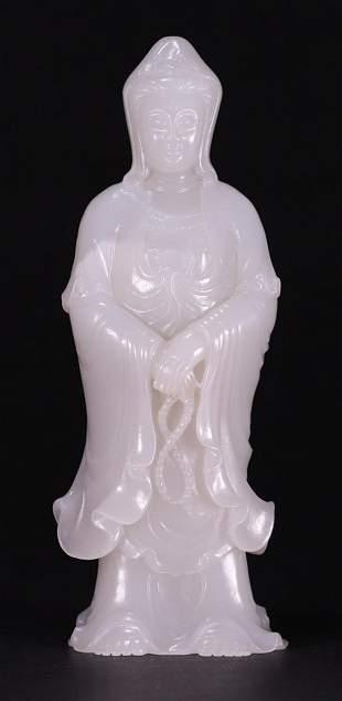 HETIAN JADE CARVED GUANYIN BUDDHA BUDDHA STATUE
