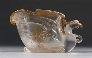 GLASS WITH GOLD PHOENIX SHAPE CUP