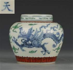 CHENGHUA MARK BLUE WHITE DOUCAI GLAZE DRAGON JAR