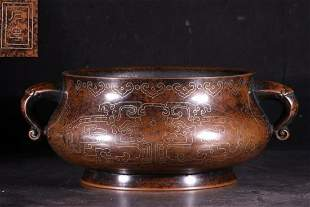 COPPER WITH GOLD DOUBLE EAR CENSER