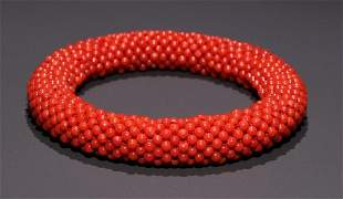 CORAL WITH CHENXIANG WOOD CARVED BANGLE
