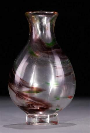 GLASS CARVED VASE