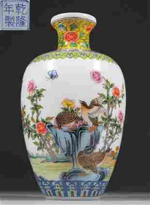 GLASS CARVED FLOWER&BIRD PATTERN VASE