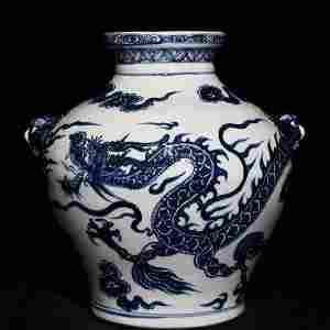 BLUE&WHITE GLAZE DRAGON PATTERN JAR