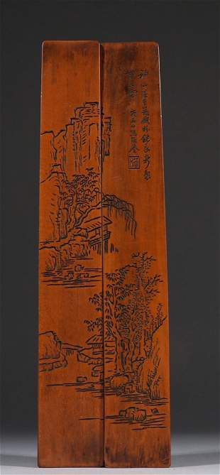 WOOD CARVED LANDSCAPE PATTERN PAPERWEIGHT