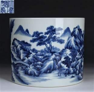 YONGZHENG MARK BLUE&WHITE LANDSCAPE BRUSH POT