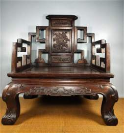 HUANGHUALI CRAVED FLOWER PATTERN CHAIR