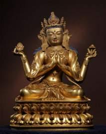 YONGLE MARK GILT BRONZE GUANYIN BUDDHA STATUE