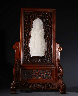 WOOD WITH HETIAN JADE CARVED GUANYIN SCREEN