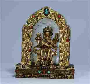 CRYSTAL WITH GILT BRONZE BUDDHA STATUE