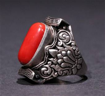 SILVER CARVED WITH RED CORAL RING