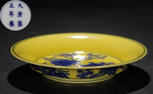 YELLOW BLUE&WHITE GLAZE PLATE