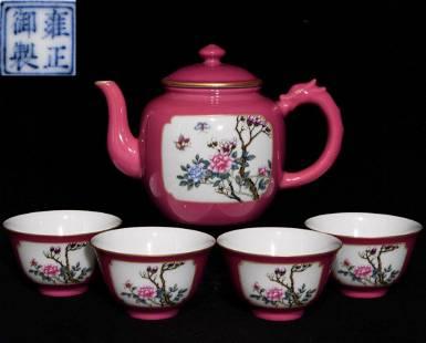 SET OF YONGZHENG MARK RED GLAZE POT&CUPS
