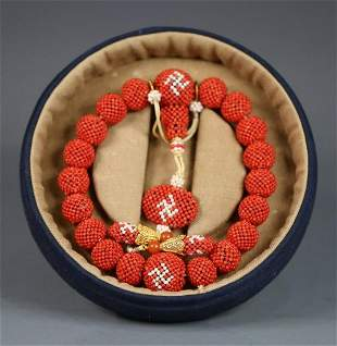 RED CORAL STRING BRACELET WITH 18 BEADS