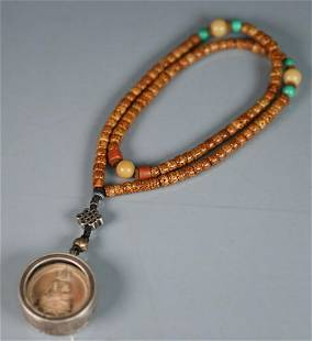 TIBETAN BODHI WITH SILVER CAST BOX NECKLACE
