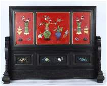 ZITAN LACQUER WITH GEM DECORATED SCREEN