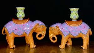 QIANLONG MARK ALUM RED GLAZE ELEPHANT CANDLE HOLDERS
