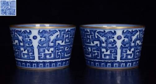 PAIR OF QIANLONG MARK BLUE&WHITE DRAGON PATTERN CUPS