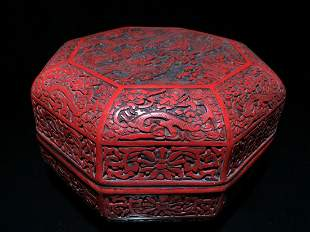 RED LACQUER DRAGON PATTERN BOX