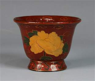 LACQUER WOOD CARVED CUP