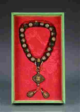 CHENXIANG WOOD STRING BRACELET WITH 18 BEADS