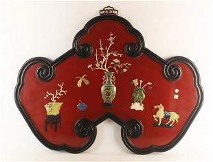 ZITAN WOOD FRAME&LACQUER WOOD WITH GEM DECORATED SCREEN