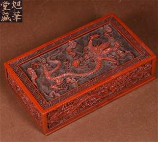 RED LACQUER CARVED DRAGON PATTERN BOX